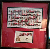 "PROFESSIONAL FRAMED - RCMP ""125th Anniversary Postage Stamp Sheet & RCMP Crest"