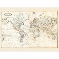 Map Lizars 1841 World Mercator's Projection Chart Large Wall Art Print 18X24 In