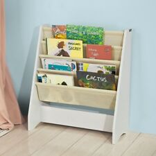 SoBuy® Children Kids Bookcase Sling Storage Rack Book-Shelf,White,FRG225-W, UK