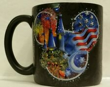 Walt Disney World Black 3D Mickey Head Coffee Mug Cup American Flag Castle
