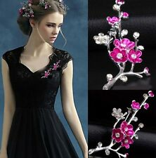 LARGE SILVER PLUM BLOSSOM FLOWER DIAMANTE CRYSTAL BROOCH WEDDING GIFT BROACH PIN
