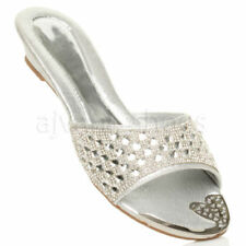 Scarpe da donna pantofole , ciabatte zeppi argento