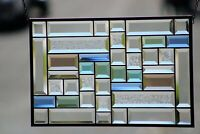 """Totally Beveled Stained Glass Panel 20 1/2"""" X 13 """" Window"""