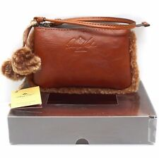 PATRICIA NASH Piedmont Sherpa Italian Leather WALLET NEW Vinovo TAN WRISTLET BOX