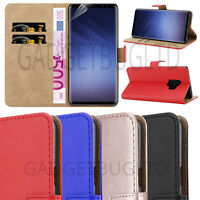 CASE FOR SAMSUNG GALAXY S9 REAL GENUINE LEATHER SHOCKPROOF WALLET FLIP COVER