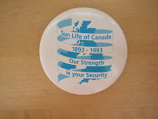 Vtg Pin Button Badge Sun Life of Canada Insurance 1993 Centenary 100 yrs UK map