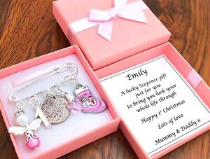 BABY'S FIRST CHRISTMAS GIFT, LUCKY SIXPENCE, GIRL/BOY PERSONALISED in BOX