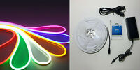 KIT STRIP LED NEON FLESSIBILE 5 METRI 12V + ALIMENTATORE IP65 120 LED SILICONE