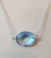 14k White Gold Necklaces With Genuine Blue Topaz Oval