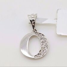 New 10k White Gold Letter 'O' Initial Alphabet .05ct Diamond Small Charm Pendant