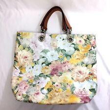 Maurizio Taiuti Leather Floral Handbag Satchel Bag Tote Purse Watercolor