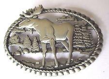 broche animalière chasse élan unique bijou vintage couleur argent ovale 531