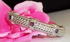 Judith Ripka Sterling Silver Hinged Cuff Bracelet Amethyst 925 Gemstone