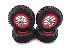 NEW TRAXXAS 4wd SLASH SET OF RED & CHROME 12mm WHEELS & SPEC TIRES 4x4 ULTIMATE