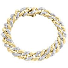 "Miami Cuban Diamond Bracelet Mens .925 Sterling Silver 8"" Pave Round Cut 3 Ct."