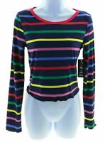 Timing Juniors Navy Blue and Multi Color Stripe Long Sleeve Crop Top Casual