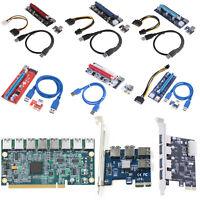 PCI-E 1x to 16x USB 3.0 VER SR-01 007S 008S 009S Graphics Riser Card Board Lot