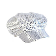 Sequin Cap 80's Style Hat Accessory for Disco Fancy Dress Silver
