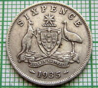 AUSTRALIA GEORGE V 1935 SIXPENCE 6 PENCE, SILVER LOW MINTAGE