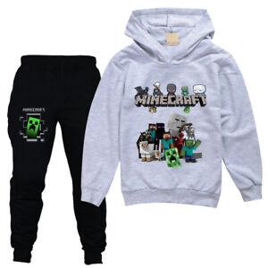 Boys Girls Minecraft 2PCS Hoodies + Pants Set Hooded Tracksuit Age 5-13 Years