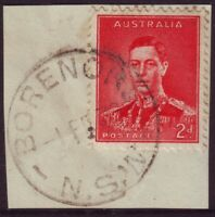 """NSW POSTMARK """"BORENORE"""" ON 2d RED KGVI DATED 1938 - PO CLOSED 1991 (A12880)"""