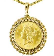 """1904 US $20 Liberty Double Eagle Gold Coin In 21kt Pendant+ 30"""" 18kt Wheat Chain"""