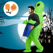 Adult Funny Inflatable Costume Green Alien Blow Up Suit Halloween ET 160-200cm