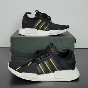 New Adidas NMD_R1 Boost Black/Gold/White Shoes FW6433 Women's US Size 7.5
