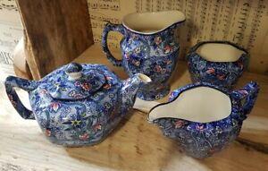 Ringtons Blue Chintz: Milk/Water Jug, Sugar Bowl, Cream Jug & 2 cup Teapot