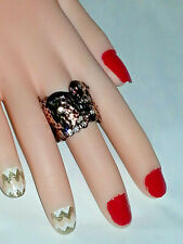 HANDMADE STRETCH COPPER RHINESTONE COCKTAIL BAND RING