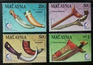 MALAYSIA 1995 SINGAPORE '95 TRADITIONAL MALAY WEAPONS KERIS SG 570 - 573 MNH OG