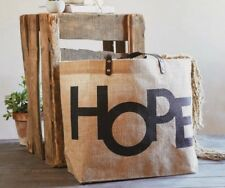 Huge HOPE Religious Quote Jute Beach Tote Bag Shopping Gym Market Weekend Travel