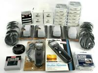 Lot of Camera Photo accessories, filters, lens cap, flash dome, shutter timer