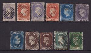 Ceylon. SG 26,34,35,38,39,43,49w,41,41a,50 & 50d. Used selection.