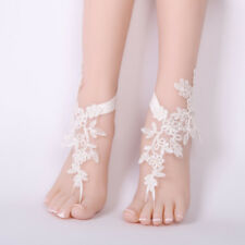 2pcs Wedding Lace Crochet Anklet Barefoot Sandals Foot Jewelry White