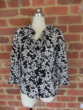 STITCHES COLLECTION LADIES 10 SHIRT BLOUSE BLACK FLORAL RUFFLE  NECKLINE CUFF
