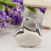 Glossy Stainless Steel Polished Silver Love Heart Cremation Keepsake Urn Pendant