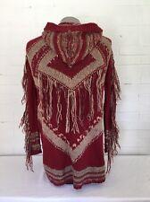 Free People Boho Fringe Hooded Long Sweater Cardigan S Maroon Anthro