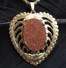 Heart Floral Pendant Necklace 20� Long Vintage Estate 14K Gold Filled Goldstone