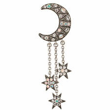 NEW KIRKS FOLLY ECLIPSE CRESCENT MOON STAR PIN  ANTIQUE SILVERTONE
