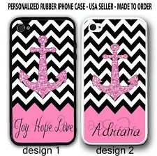 Personalized Pink Chevron Anchor Rubber Silicone Case For iPhone X 8 7 6S 6 SE 5