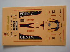 F1 DECALS KIT 1/43 OSELLA FA 1/B 1981 GABBIANI-JARIER 1/43 DECALS