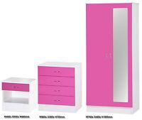 Alpha Pink High Gloss & White Bedroom Set 2 Door Mirrored Wardrobe Chest Bedside