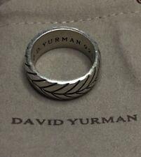 David Yurman Men's Sterling Silver Chevron 10mm Ring Sz 9.5 in Mint EUC + DY Bag
