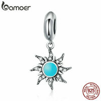 BAMOER S925 Sterling Silver Charm Blue day Dangle Bead With Crystal Fit bracelet