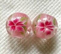 10pcs handmade Lampwork glass round Beads flower 14mm---pink lily flower
