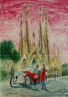 Llop - litografía Barcelona modernista 'Sagrada Familia', numerada y firmada