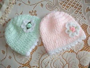 PACK X 2 HANDCROCHETED HATS TO FIT EARLY/TINY AND BABY DOLLS M+P