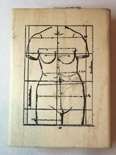 Art Bust Woman Body Nude Measurements Rubber Stamp A Stamp in Hand Fashion