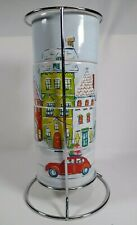 Pier 1 Set of Four Stacking Christmas Mugs with rack Christmas Village NEW